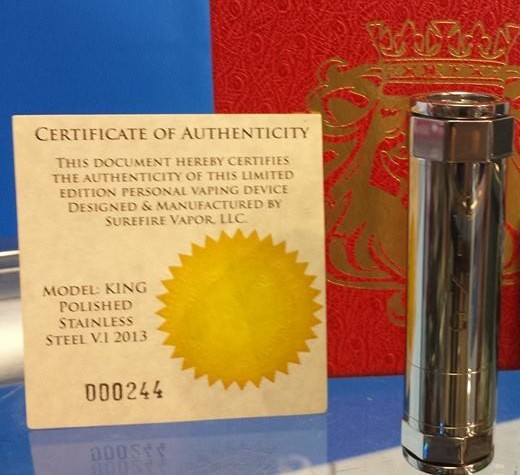 KING mod by surefire. Authentic mods available at E-Cigarette Friendly Vapor Emporium.