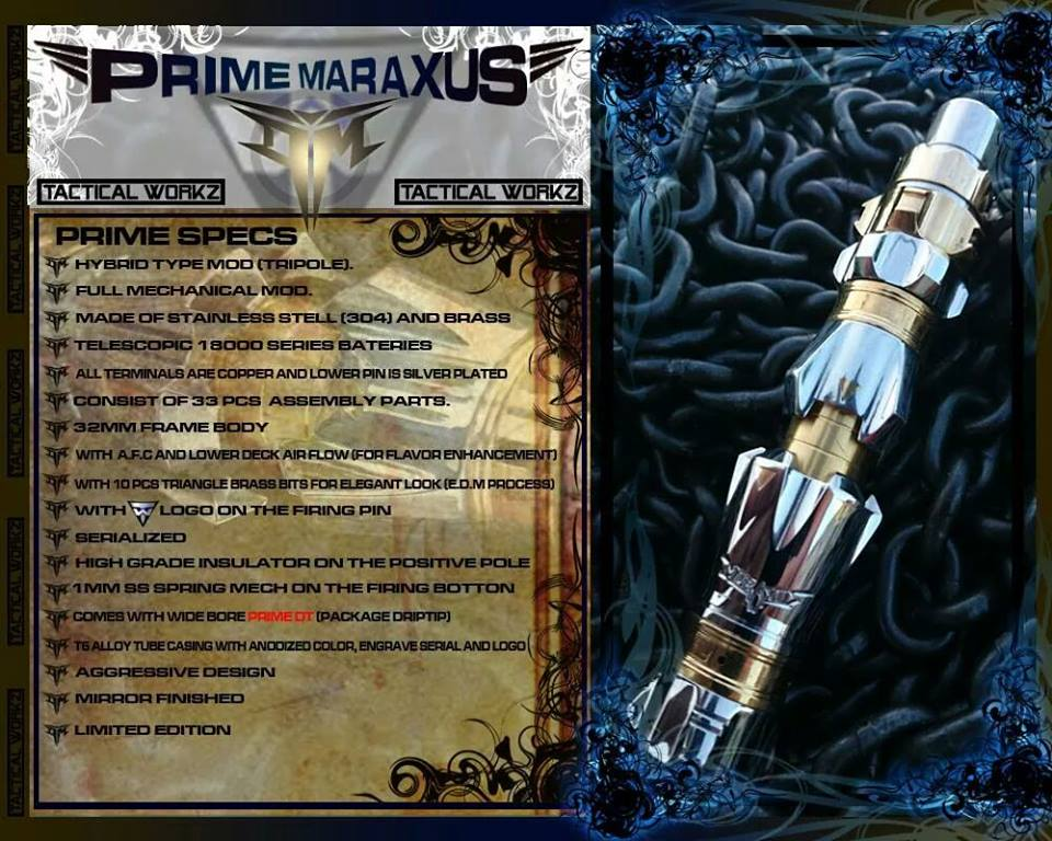 Pre order your authentic Prime Maraxus mechanical mod only available at E-Cigarette Friendly Vapor Emporium.